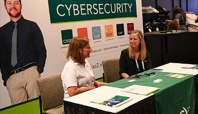 Photograph of the ISC 2 booth at Black Hat